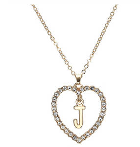 Replica Diamond Initial Heart Necklace