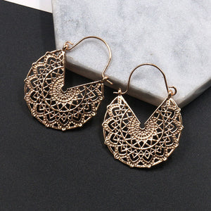 Carved Flower Petals Earrings