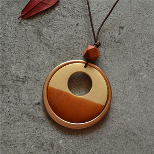 Hand Carved geometric Wooden Pendants