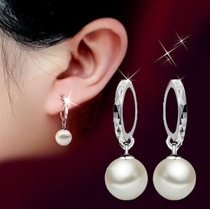Faux Pearl Hoop Drop Earrings
