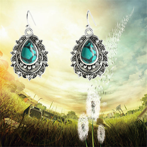 Ornate Turquoise Pear Earrings
