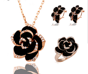 Black Rose Jewellery Sets