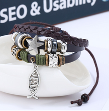 Load image into Gallery viewer, Star Leather Bracelet