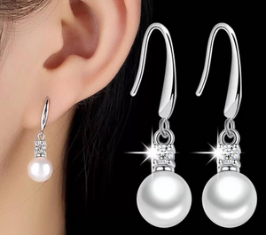 Crystal Pearl Silver Earrings
