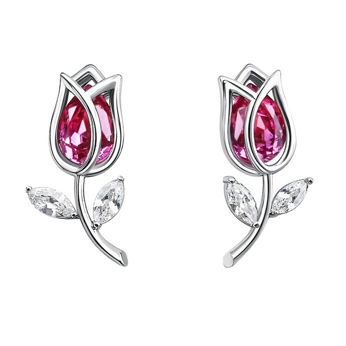 Austrian Crystal Tulip Earrings