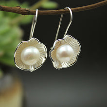Load image into Gallery viewer, Lotus Faux Pearl Earrings