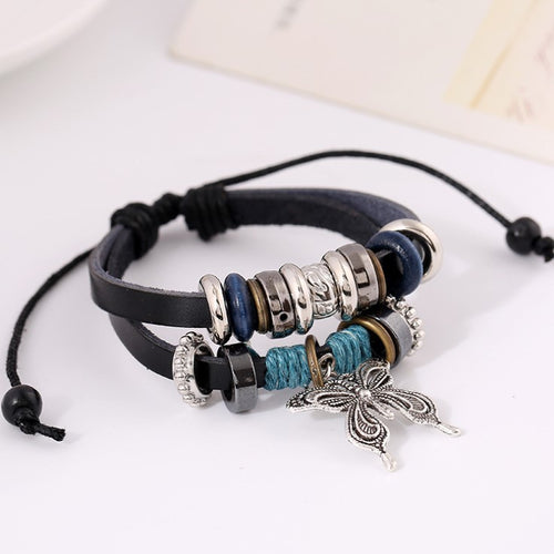 Butterfly Pendant Leather Bracelet