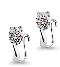 Load image into Gallery viewer, Swiss Crystal Cat Earrings