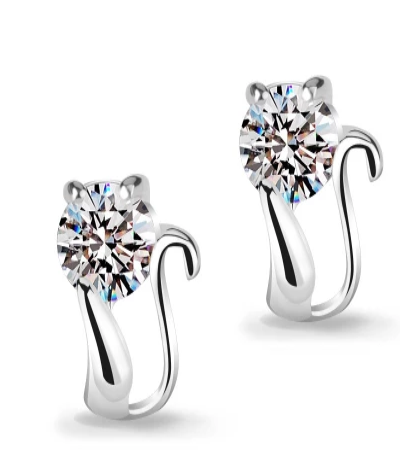Swiss Crystal Cat Earrings