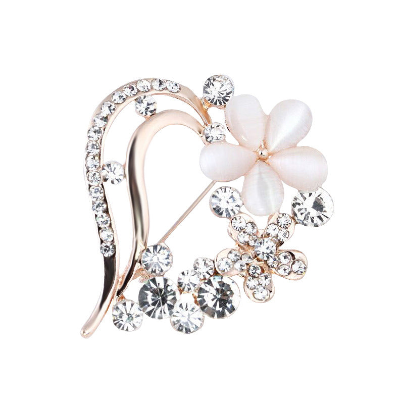 Flower Heart Brooch
