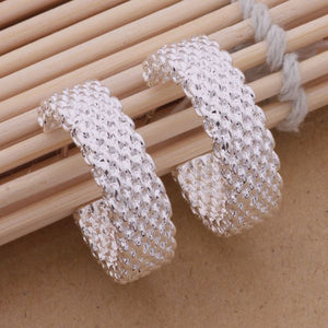 Silver Weave Hoop Earrings