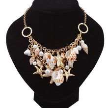 Load image into Gallery viewer, Boho Starfish Faux Pearl Shell Necklace