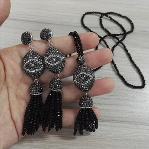Boho  Evil Eye Charm Black Bead Tassel Stud Earrings