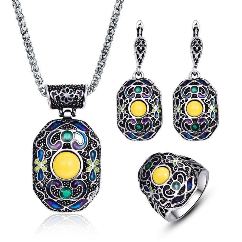 Boho Enamel Multi-Color Pendants