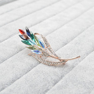 Rainbow Austrian Crystal Wheat Brooches
