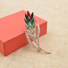Load image into Gallery viewer, Rainbow Austrian Crystal Wheat Brooches