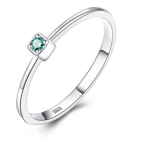 Slim Solitaire Gem Ring