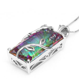 Solid 925 Sterling Silver Rainbow Crystal