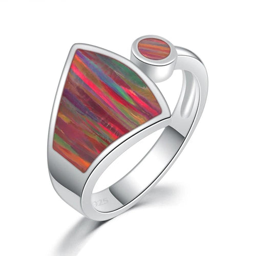 Rainbow Large Fire Opal Ring
