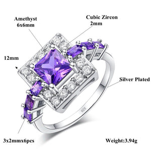 Silver Plated Square Cut Austrian Crystal Ring