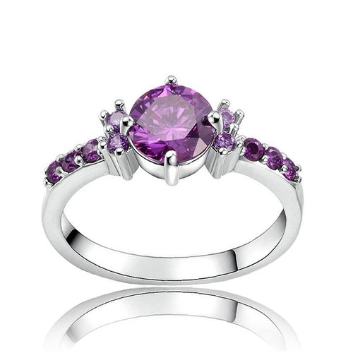 Silver Plated Violet Crystal Ring