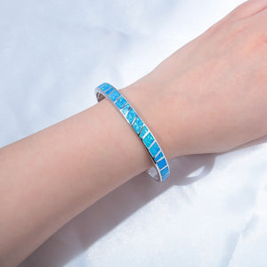 Silver Plated White & Blue Fire Opal Open Bangle