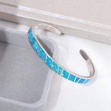 Load image into Gallery viewer, Silver Plated White & Blue Fire Opal Open Bangle