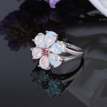 Load image into Gallery viewer, Fire Opal Flower Ring