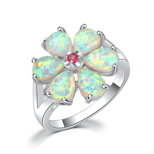 Fire Opal Flower Ring