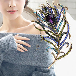 Crystal Peacock Feathers Brooch