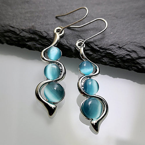 Boho Blue Moonstone Twist Earrings