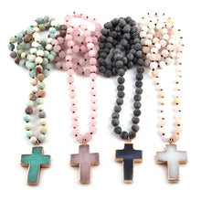 Load image into Gallery viewer, Bohemian Rosary Bead Cross
