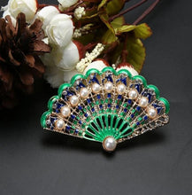 Load image into Gallery viewer, Boho Enamel Peacock Tail