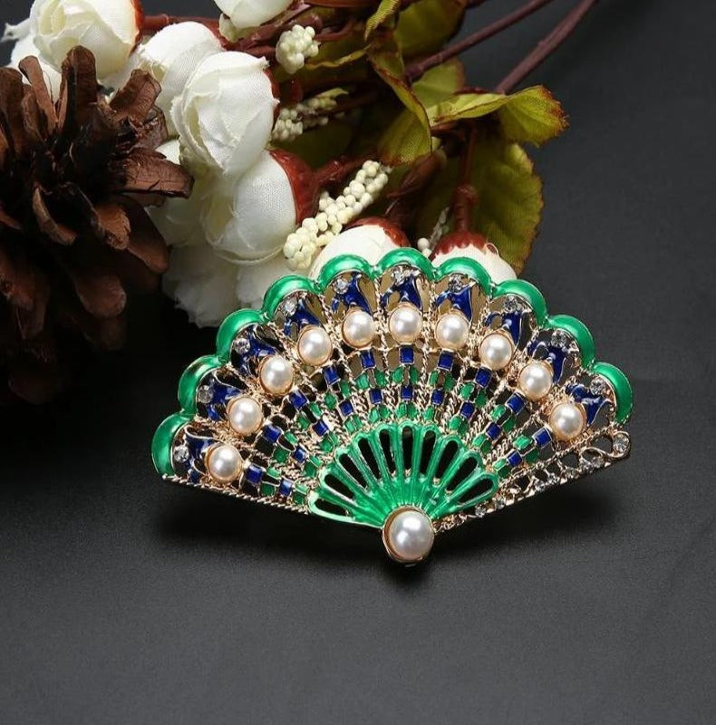 Boho Enamel Peacock Tail