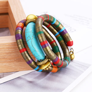 Natural Stone Colorful Snake Bangle