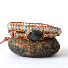 Load image into Gallery viewer, Bohemia Gilded Labradorite Vintage Leather Wrap