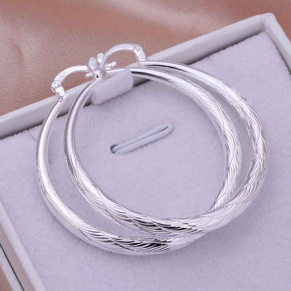 Silver Feathered Hoops