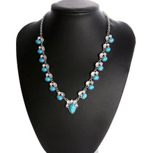 Load image into Gallery viewer, White and Turquoise Bead Necklace