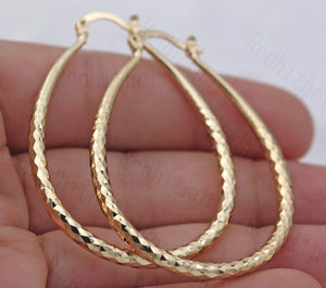 Gold Drop Hoop Earrings