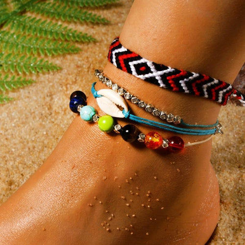 Chakra Natural Stone Cowrie Anklet Set