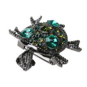 Boho Green Stone Turtle Brooch