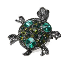 Load image into Gallery viewer, Boho Green Stone Turtle Brooch