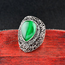 Load image into Gallery viewer, Water Drop Shaped Green Opal Big Ring