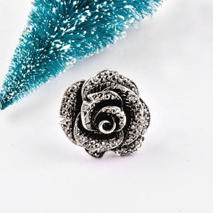 Retro Big Black Crystal Rose Ring