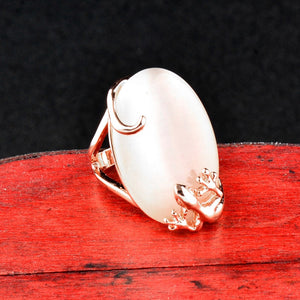 Vintage Big Oval Opal Stone Ring