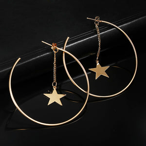 Simple Hoop Earrings With Star