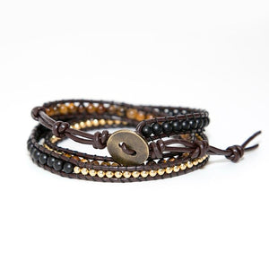 Boho Beaded Leather Wrist Wrap