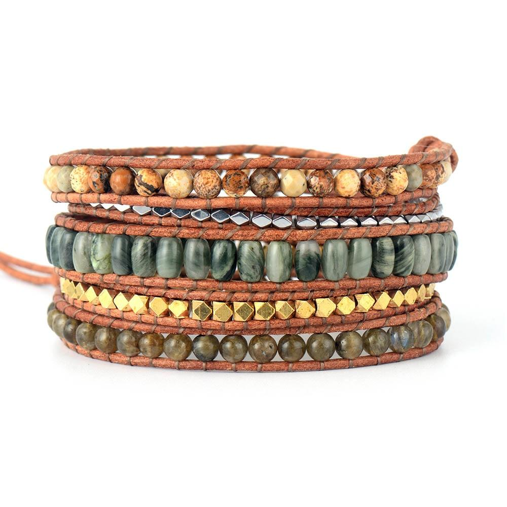 Boho Natural Stone Leather Rope