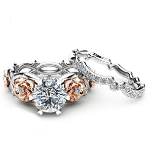 Two Piece Austrian Crystal Rose Flower