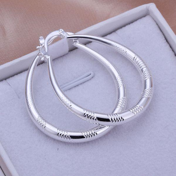 Silver Drop Hoop Earring